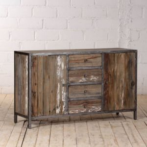 bois dessus bois dessous buffet en pin recycl et m tal largeur 150 cm 2 portes 4. Black Bedroom Furniture Sets. Home Design Ideas