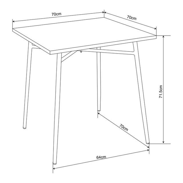 Squareline Table de jardin en acier carré 70x70cm Bruge - Anthracite