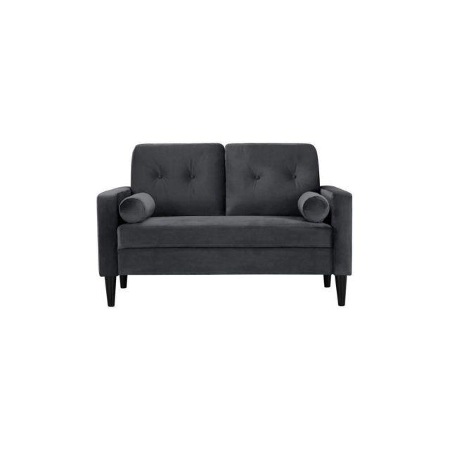 Sans Marque Ibra Velvet Canape Droit Fixe 2 Places - Velours Gris - Classique - L 130 X P 82,50 Cm
