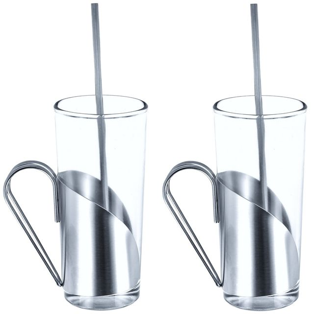 Promobo Set Duo Luxe Verre A Cocktail Tasse Café Inox Idéal Irish Coffee Cappuccino Boissons Frappés