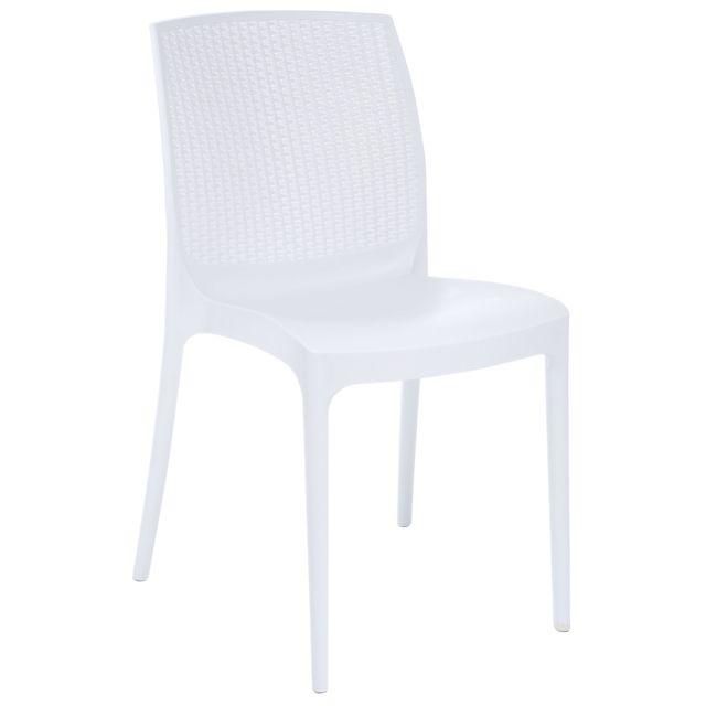 RUE DU COMMERCE Chaise Bohème Blanc Chaise bohème en résine de synthèse Greenpol coloris blanc.