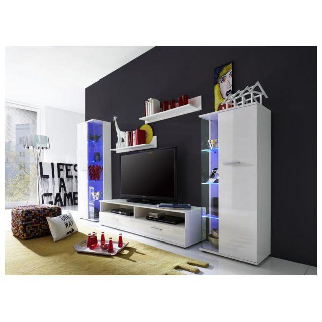 Meuble Tv Mural Blanc Brillant à Led Polo 4 Pas Cher Achat Vente