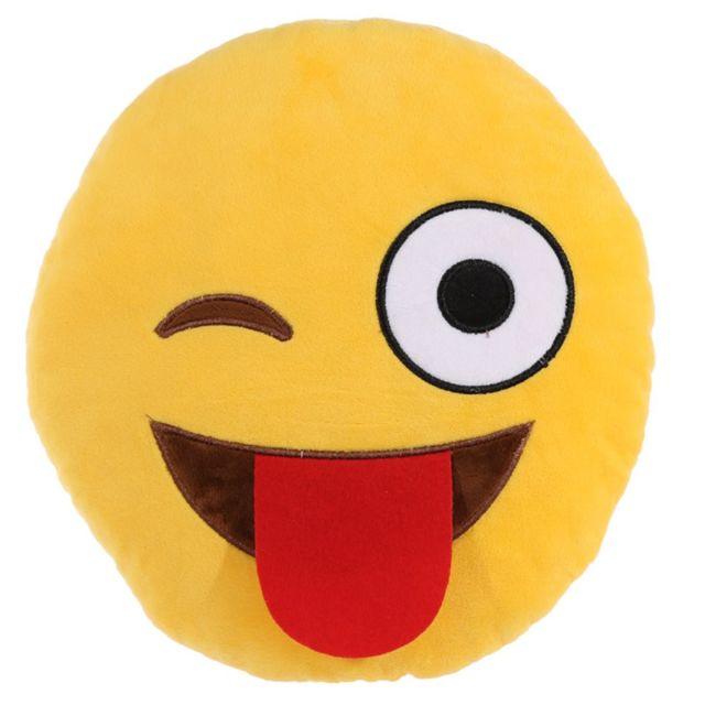 Character World Coussin Peluche Emoji Clin d'oeil 50 cm Coussin en peluche Emoji Clin d'oeil En polyester.Dimension 50 cm