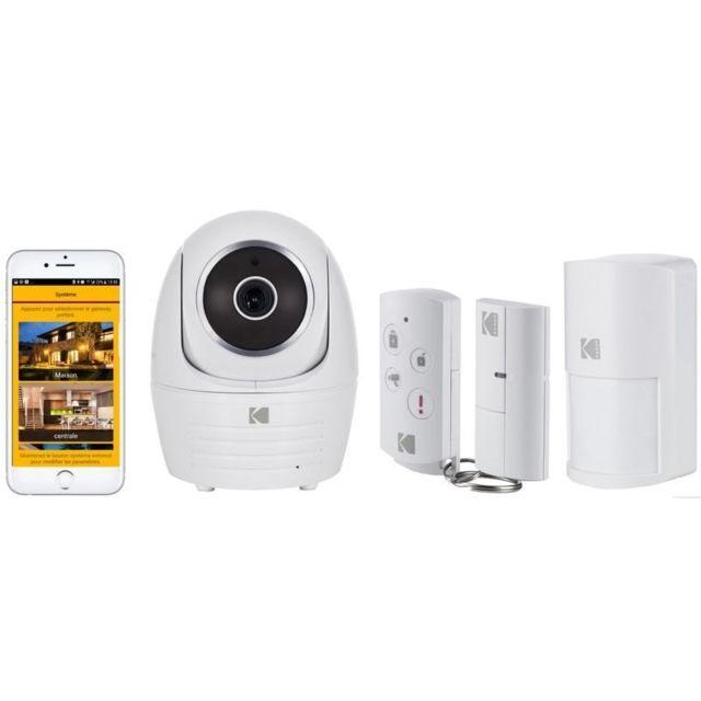 KODAK Pack Caméra de sécurité IP101WG + 1 Contacteur de porte WDS801 + 1 Détecteur de mouvement WMS801 + 1 Télécommande WRC801