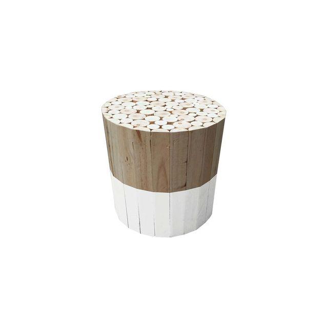 The Concept Factory Tabouret Rond En Bois Blanc Pas Cher Achat