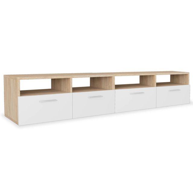 Helloshop26 Meuble télé buffet tv télévision design pratique aggloméré 95 cm chêne et blanc 2502044