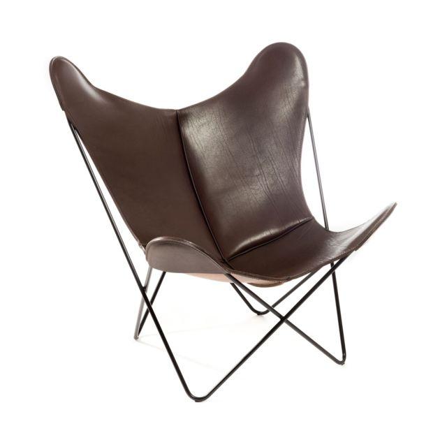 MANUFAKTURPLUS Butterfly Chair Hardoy - Selle - Cuir - acier noir - Cuir Sattel brun