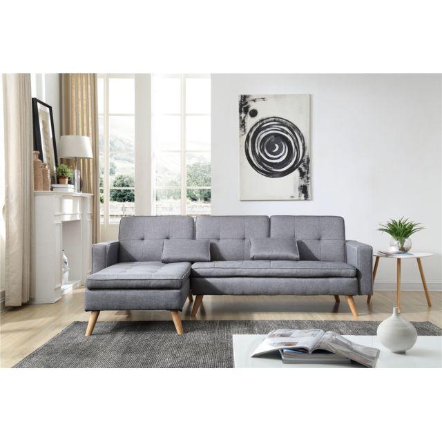bobochic canap 4 places modulable convertible nora gris clair 155cm x 85cm x 244cm. Black Bedroom Furniture Sets. Home Design Ideas