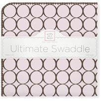 Swaddle Designs - Swaddledesigns Ultimate Receiving Blanket, Mod Circles, Pastel Pink With Brown JAPAN Import