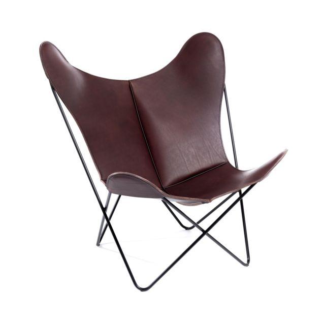MANUFAKTURPLUS Butterfly Chair Hardoy - Cuir poli - acier noir - cuir nu marron