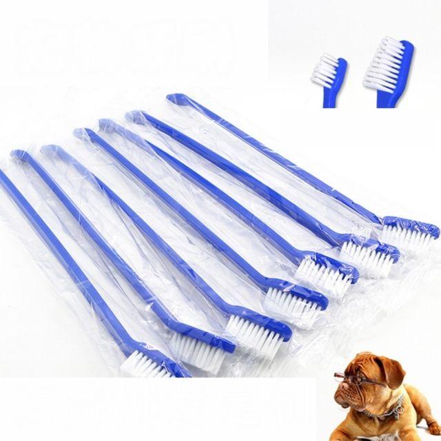 Wewoo Brosse à dents pour animaux de compagnie efficace soins buccaux20 chatschien chatPCS Spécifications Manche bleue + poils