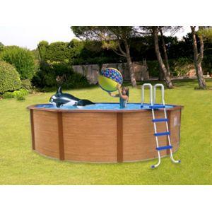 aqualux pool zen spa kit piscine hors sol acier mambo ronde imitation bois x. Black Bedroom Furniture Sets. Home Design Ideas