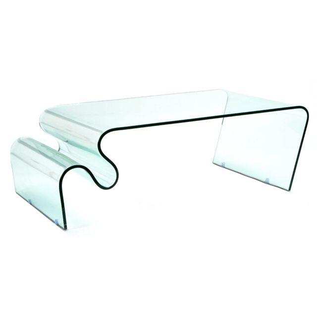 KORB Table basse en verre Zigzag