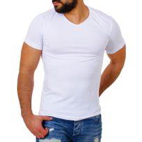 Beststyle - Tee shirt homme col en v blanc