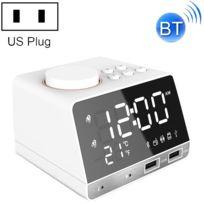 K11 Bluetooth réveil haut parleur Creative Digital Music Clock Display Radio avec double interface Usb, support U disque carte Tf Fm Aux, prise