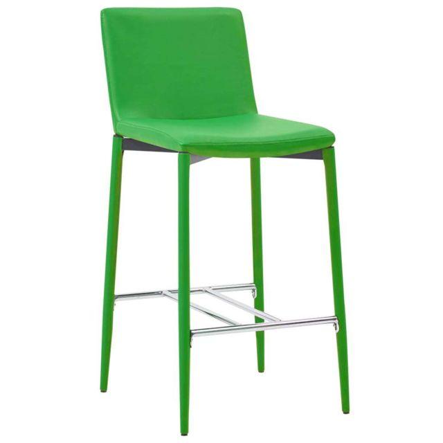 Icaverne Tabourets de bar selection Chaises de bar 2 pcs Vert Similicuir