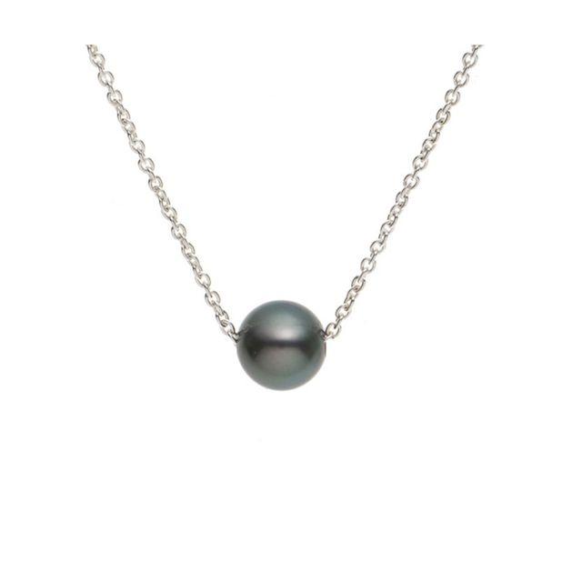 Blue Pearls Collier Ras du cou Femme Perle de Tahiti et Chaine Forcat en Argent Massif 925/1000 - Bps 0241 W