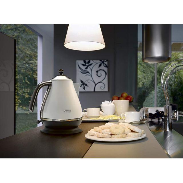 Delonghi bouilloire électrique de 1,7L sans fil style rétro 2000W blanc
