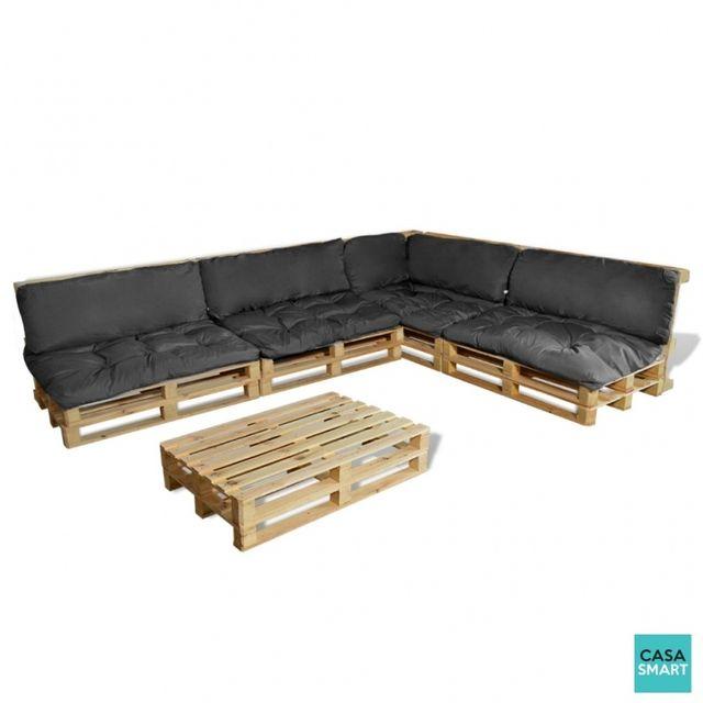 casasmart ensemble salon de jardin en palette coussins gris inclus pas cher achat vente. Black Bedroom Furniture Sets. Home Design Ideas