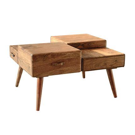 Table basse 4 tiroirs en bois acacia