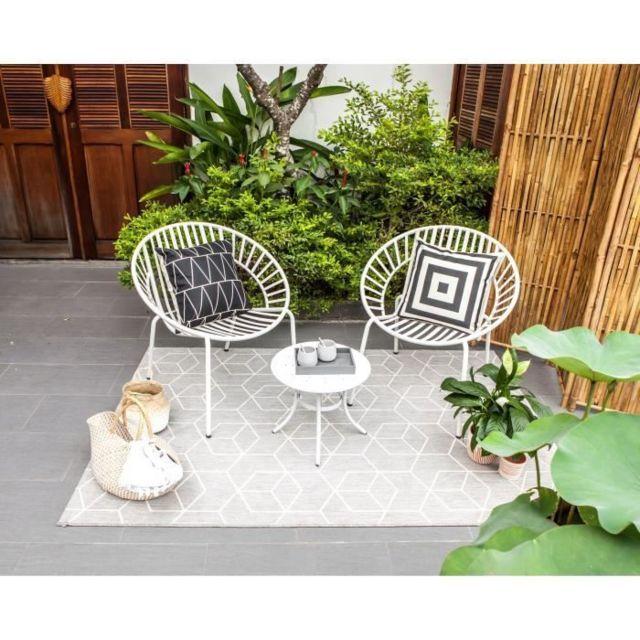 Salon De Jardin - Ensemble Table Chaise Fauteuil De Jardin Opoa Salon de  jardin 2 places - 2 fauteuils et une table basse en métal - Blanc