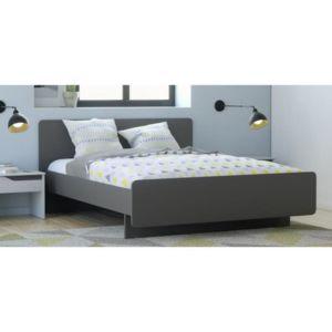 aucune look lit adulte contemporain gris mat revetement m lamin 140x190cm pas cher. Black Bedroom Furniture Sets. Home Design Ideas