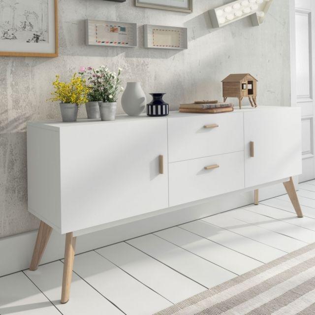 Zendart Design Selection Buffet design blanc 160x40 Compas 2tiroirs 2portes par Zendart Sélection