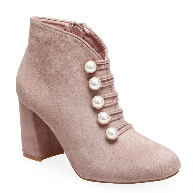 a281d128e909 Lamodeuse - Bottines roses avec perles à talon - pas cher Achat ...
