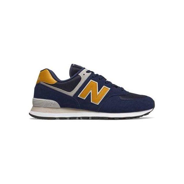 046efcc2ae37 New Balance - Chaussures Ml 574 bleu foncé jaune - pas cher Achat / Vente  Chaussures fitness - RueDuCommerce