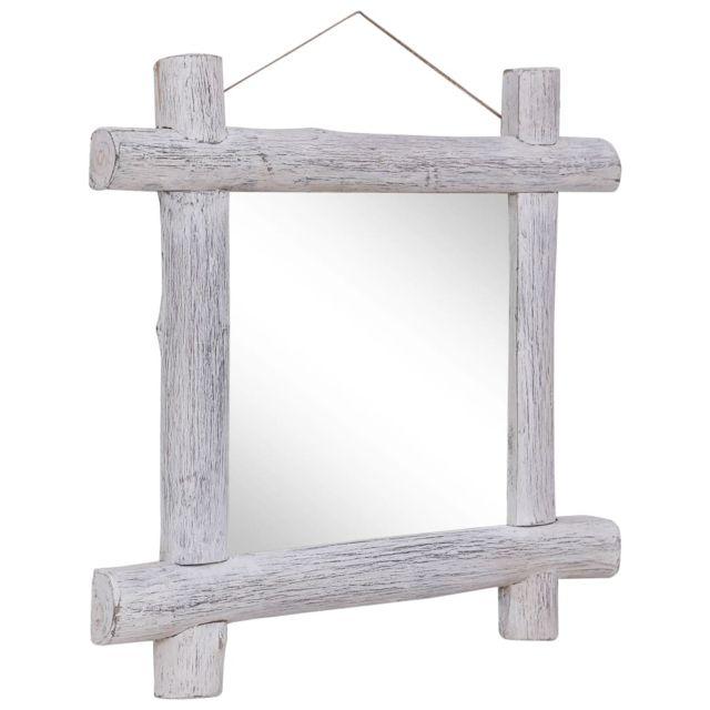 Vidaxl Miroir à bûches Blanc 70x70 cm Bois de récupération massif