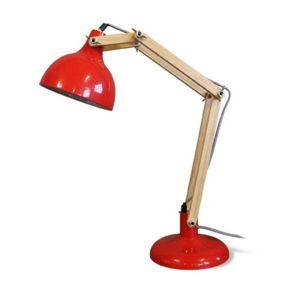 alin a ombra lampe de bureau bois acier rouge h65cm. Black Bedroom Furniture Sets. Home Design Ideas