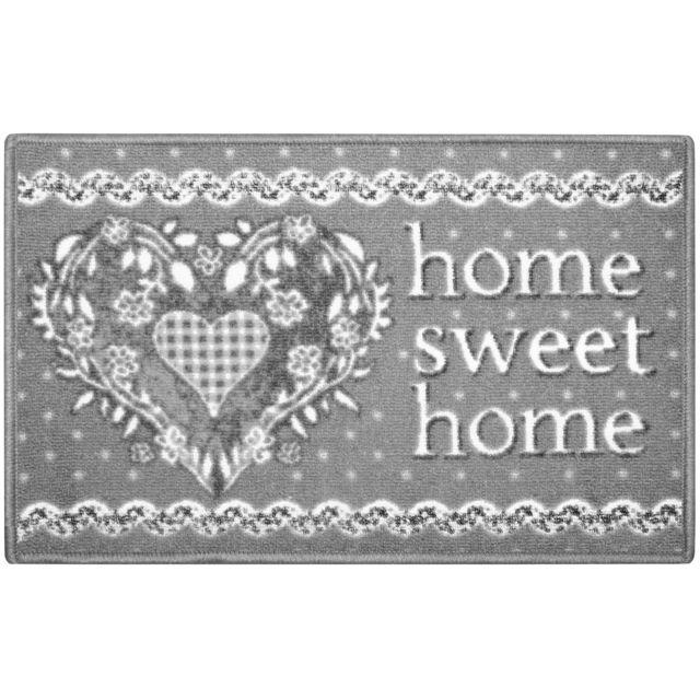 Tapis De Cuisine Entrée de pièces Déco Home Sweet Home Gris 40x60cm