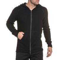 33015ed7f643b BLZ Jeans - Gilet oversize homme noir fine maille zippé col capuche ...