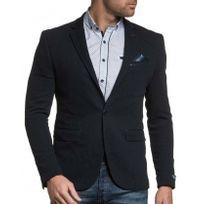 BLZ Jeans - Blazer homme bleu navy gauffré chic