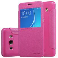 Nillkin - Etui rabat latéral rose aspect satiné pour Samsung J5-2016