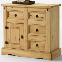 Idimex - Buffet commode apothicaire style mexicain pin fintion cirée