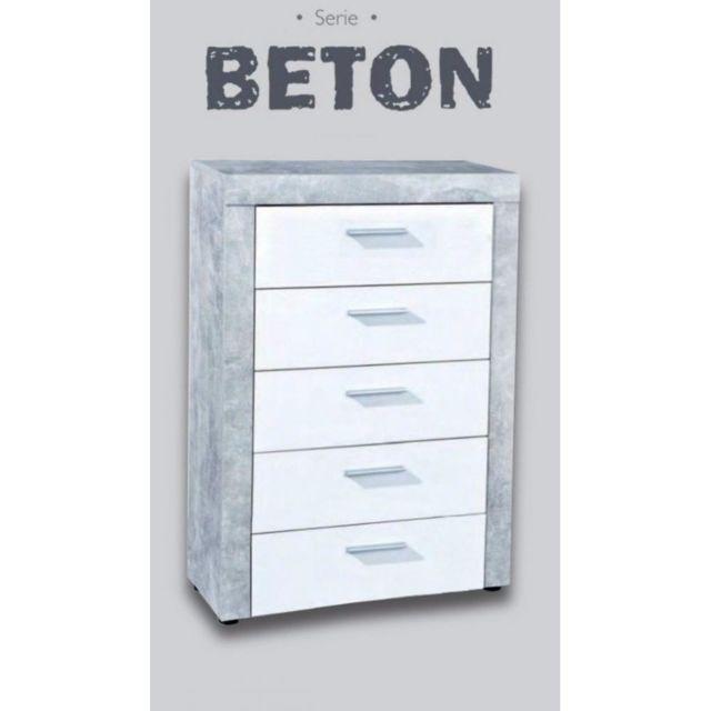 Inside 75 Commode 5 tiroirs aspect béton et blanc