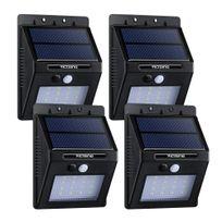 Alpexe - 4 Pack 16 Led 320 Lumens Lampe Solaire Extérieure avec Capteur Intelligent et Détecteur de Mouvement Automatique pour Jardin, Escaliers, Chemins, Terrasse, Patio, etc