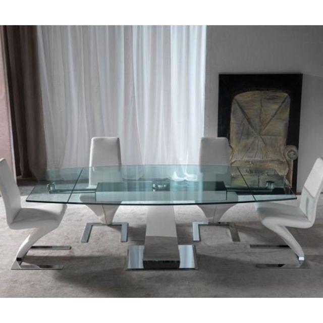 Inside 75 Table repas extensible Tavolo Enterprise en verre et acier chromé