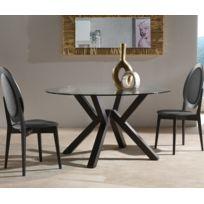 La Seggiola - Table repas Teorema en verre design wengé 140 cm