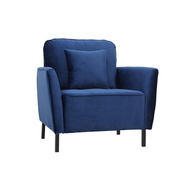 Miliboo Fauteuil design en velours bleu Beka