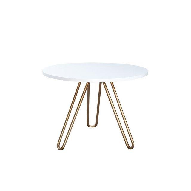 Wewoo Tables de café Accueil Mobilier Table ronde en bois massif acier basse minimaliste 50cm 50cm 45cm