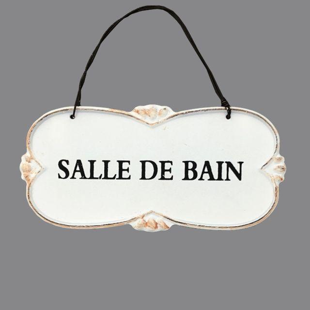 LORIGINALE DECO Grande Plaque de Porte Salle de Bain Murale Blanc Cr/ème 25.50cm