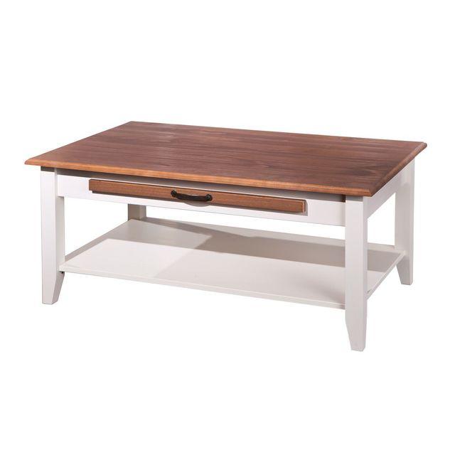 Comforium Table basse rectangulaire contemporaine 100 cm en pin massif avec tiroir coloris blanc et bois verni