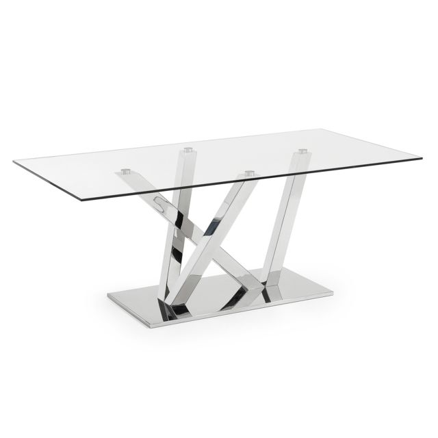 Kavehome Table Nyc 200x100, inox et verre transparent