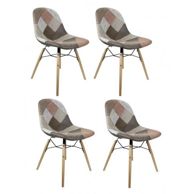 Meubletmoi Lot 4 chaises patchwork taupe effet vieux cuir