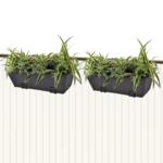 Rocambolesk - Superbe Lot de 2 Bacs Pot de Fleurs Trapèze en Rotin Noir 50 cm neuf