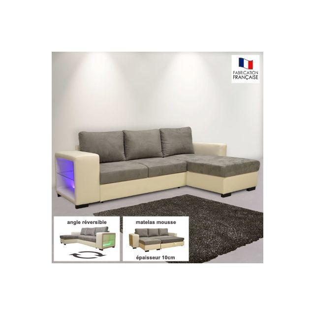 Canapé d'angle réversible convertible Pu-micro avec leds blanc et gris
