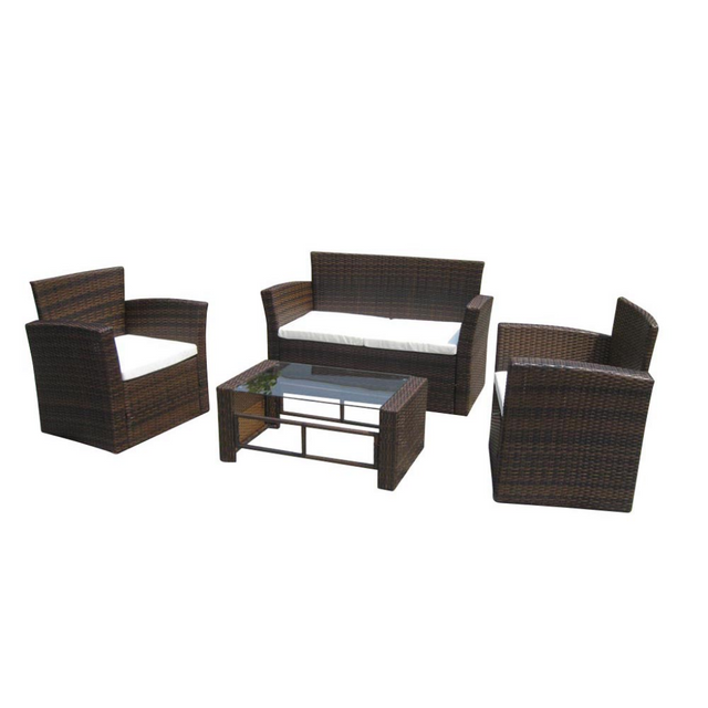 vidaxl salon de jardin r sine tress e marron chocolat pas cher achat vente ensembles. Black Bedroom Furniture Sets. Home Design Ideas