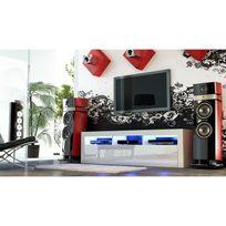 Mpc - Meuble tv 160 cm blanc mat et façades laquées blanc avec Led